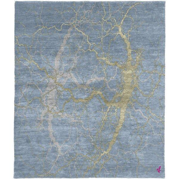One-of-a-Kind Pudalov Hand-Knotted Tibetan Blue 8' Square Area Rug