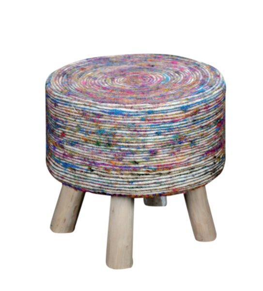 Farlend Fabric Accent Stool by Bungalow Rose