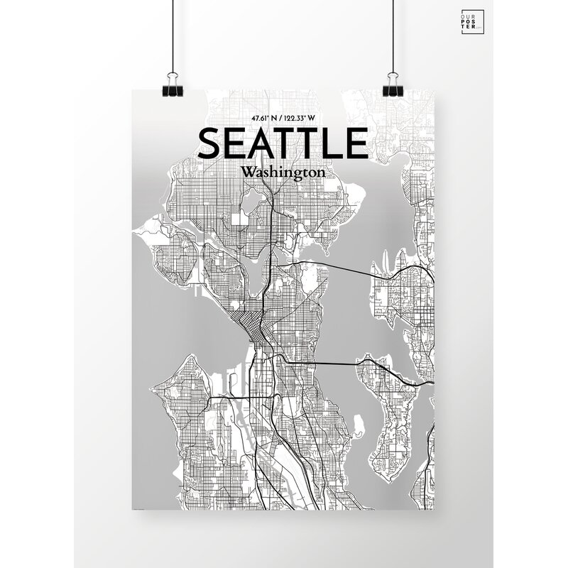 Wrought Studio Seattle City Map Graphic Art Print Poster In Tones