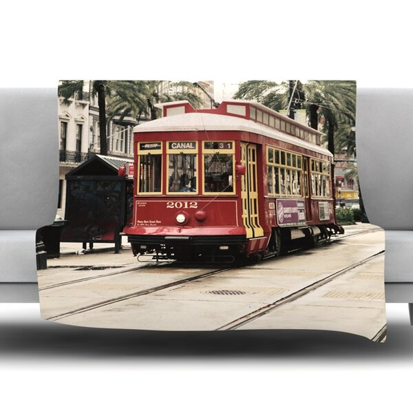 Canal Street Car by Sylvia Cook Fleece Blanket by East Urban Home