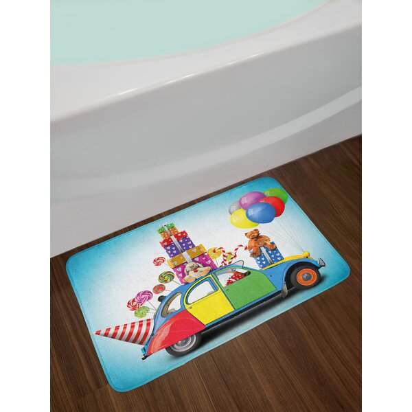 Colorful Car Birthday Bath Rug by East Urban Home