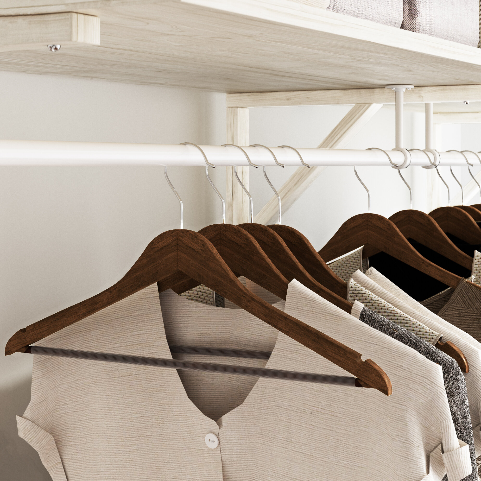 """14/"""" Juniors Natural Wood Top Hanger Pack of 10"""