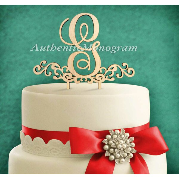 Decorated Letter Wooden Cake Topper by aMonogram Art Unlimited