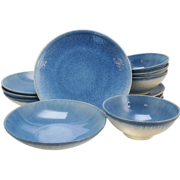 London 12 Piece Dinnerware Set, Service for 4 by Union Rustic