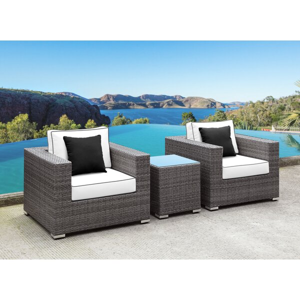 Yeager 3 Piece Patio Conversation Set with Cushion by Orren Ellis