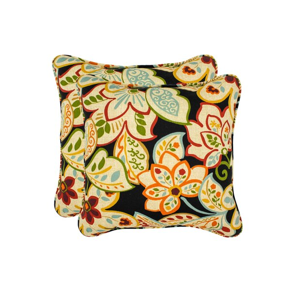Burr Flower Toss Outdoor Throw Pillow (Set of 2) by Red Barrel Studio
