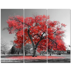 'Big Red Tree on Foggy Day' Photographic Print Multi-Piece Image on Canvas by Design Art