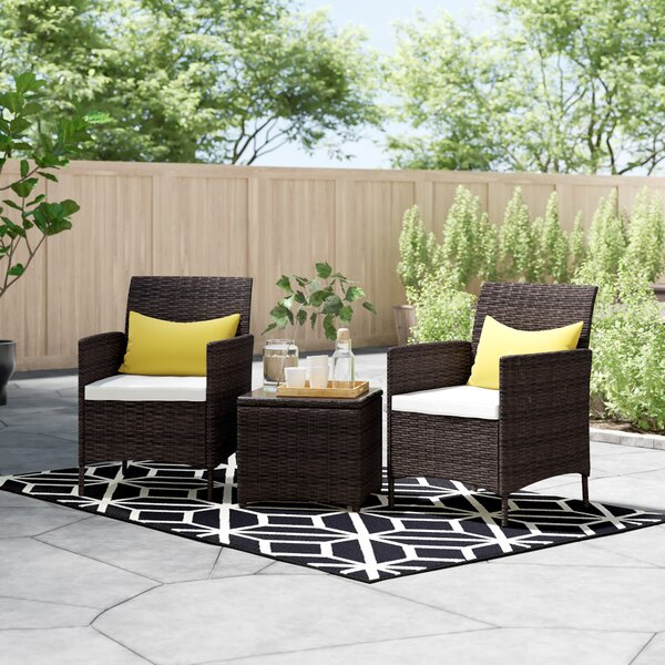 Guion 3 Piece Rattan Seating Group With Cushions By Zipcode Design™
