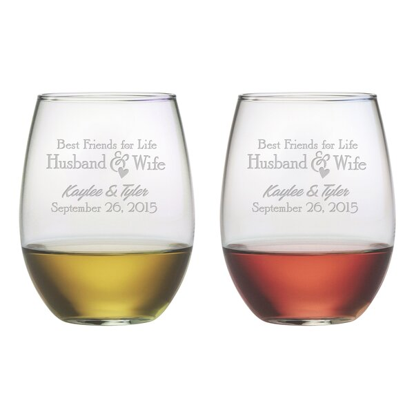 Best Friends For Life 21 Oz. Stemless Wine Glass (Set of 2) by Susquehanna Glass