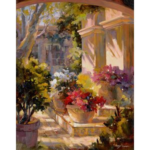 Flowered Courtyard by Betty Carr Print Painting on Wrapped Canvas by Printfinders