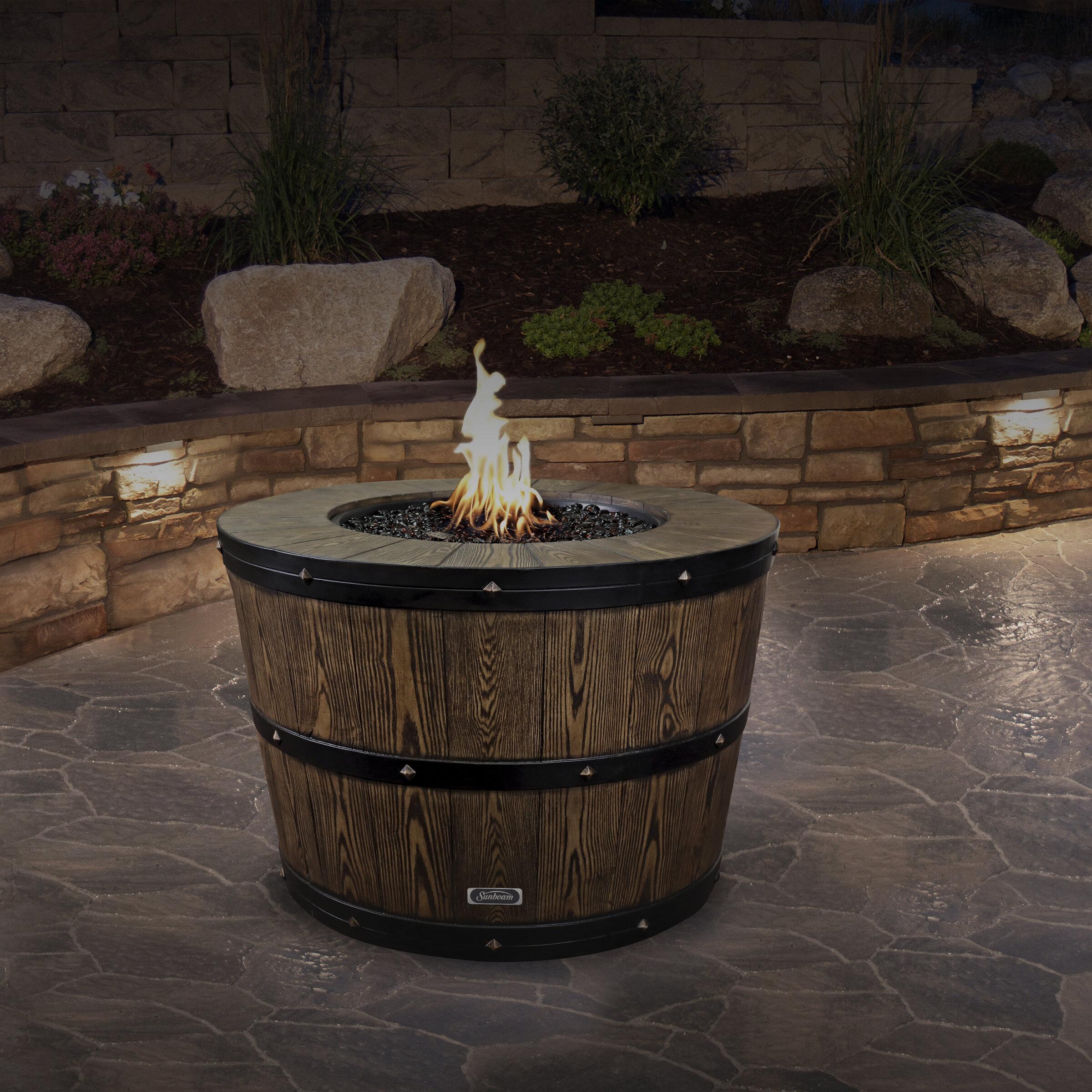 Sunbeam Wine Barrel Concrete Propane Natural Gas Fire Pit