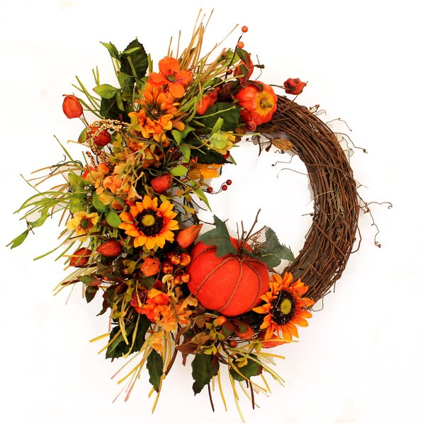 Fall 22 Pumpking Sunflower Half Wreath by The Holiday Aisle