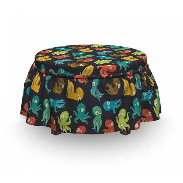 Octopus Funny Sea Characters 2 Piece Box Cushion Ottoman Slipcover Set By East Urban Home