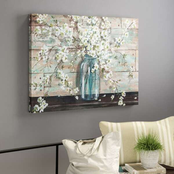 Blossoms In Mason Jar Painting Print On Wrapped Canvas By Laurel Foundry Modern Farmhouse.