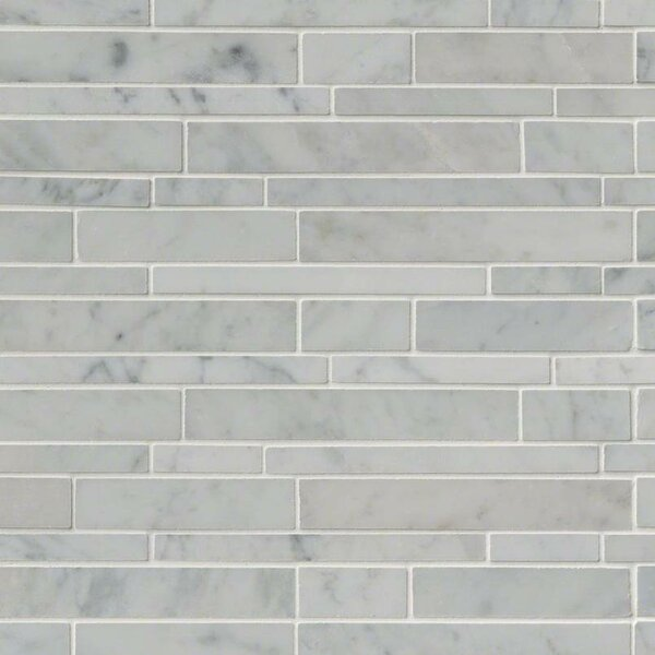 Carrara Rsp Pattern Polished Random Sized Marble Mosaic Tile in White by MSI