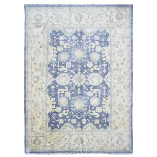 Mitchel Vegetable Dye Hand Woven Wool Blue/Beige Area Rug by Darby Home Co