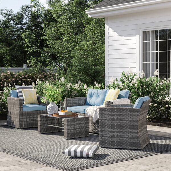 Rawtenstall 4 Piece Rattan Sofa Seating Group with Cushions by Sol 72 Outdoor