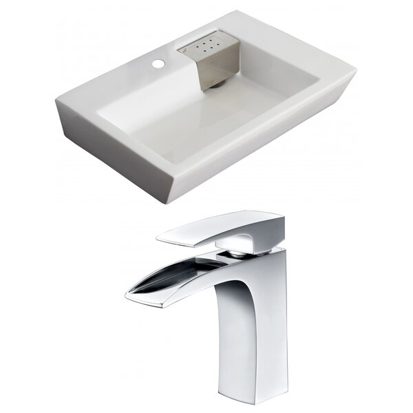 Ceramic 26 Wall Mount Bathroom Sink with Faucet and Overflow by American Imaginations