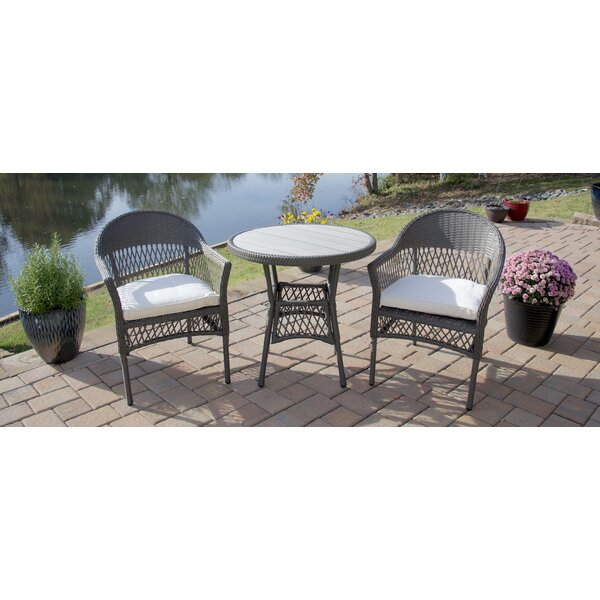 Hallock 3 Piece Bistro Set with Cushion by August Grove