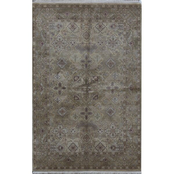 Oriental Hand-Knotted 6.1' x 9.4' Wool Gold/Gold Area Rug