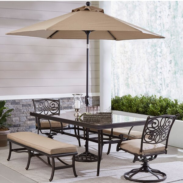 Petrolia 5 Piece Dining Set with Umbrella by Fleur De Lis Living