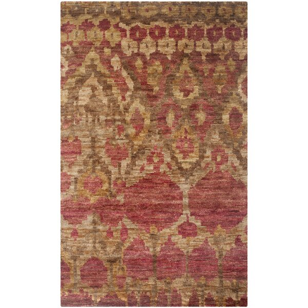 Pinehurst Hand-Knotted Red/Gold Area Rug by Bungalow Rose