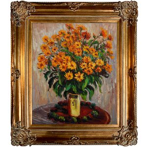 Vase of Chrysanthemums by Claude Monet Framed Painting by Tori Home