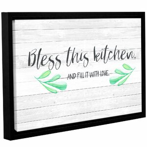 'Kitchen Blessings 1' Framed Textual Art on Wrapped Canvas by Laurel Foundry Modern Farmhouse