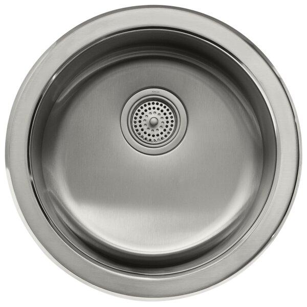 Undertone  Lyric 18-3 8 Diameter x 7-5 8 Top-Mount Under-Mount Single Circular Bowl Kitchen Sink by Kohler