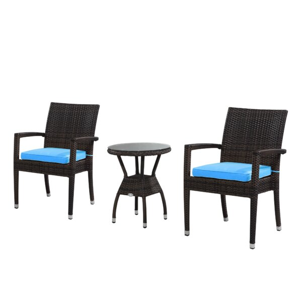 Brighton 3 Piece Dining Set with Cushions by Rattan Outdoor Furniture