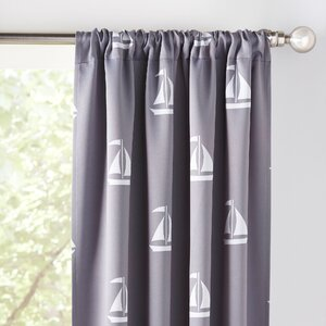 Sailboat Nautical Blackout Thermal Rod Pocket Curtain Panels (Set of 2)