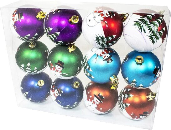 Color Ball Ornament with Snowman Design (Set of 2) by The Holiday Aisle
