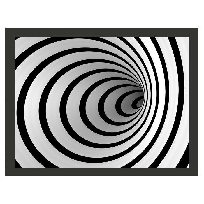 Black White 3d Tunnel 193m X 250cm Wallpaper