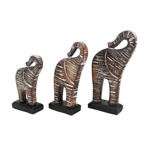 Heiss Elephant Wood 3 Piece Figurine Set by World Menagerie