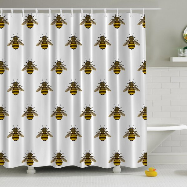 Honeybees Aligned Print Shower Curtain by Ambesonne