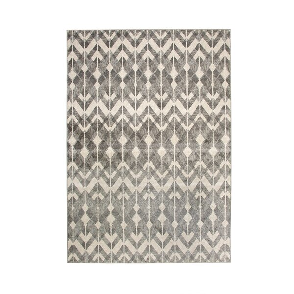 Foulds Silver-Grey/Charcoal/White Area Rug by Brayden Studio