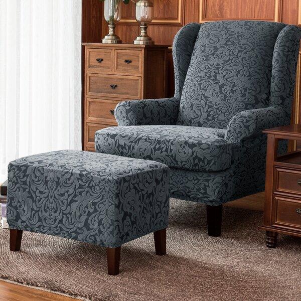 Patio Furniture Damask Elastic Armchairs T-Cushion Wingback Slipcover