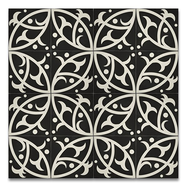 Hocima 8 x 8 Handmade Cement Tile in Black/White by Moroccan Mosaic