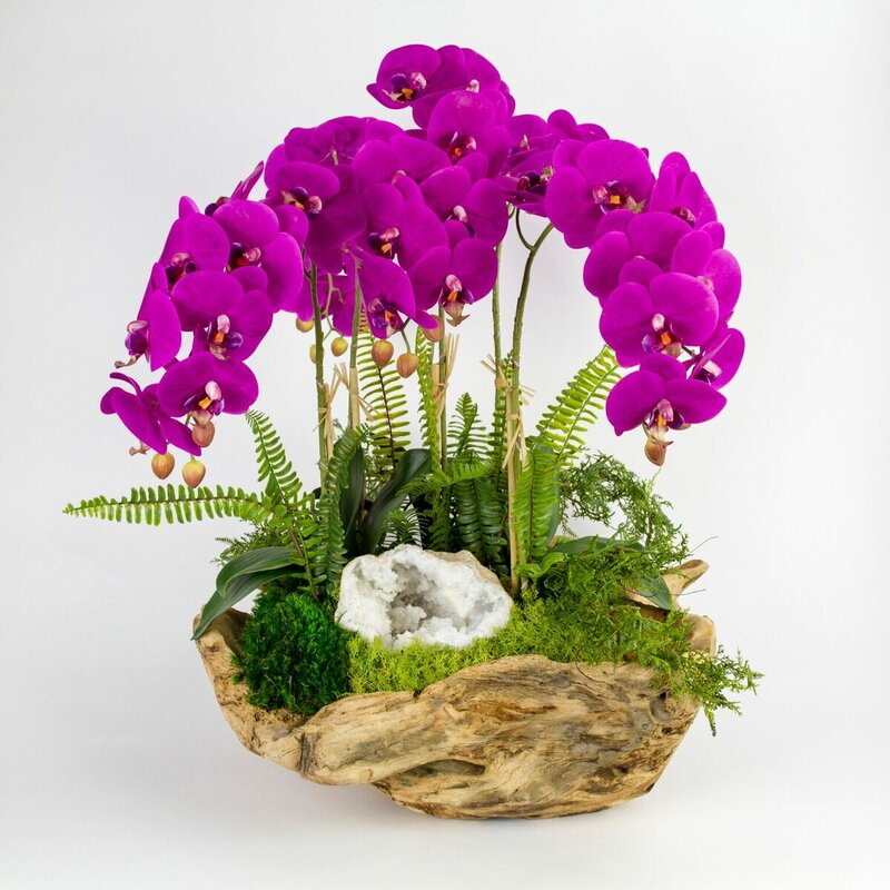 floral home decor orchid floral design wayfair.htm t c floral company orchid with white geode centerpiece in wood  t c floral company orchid with white