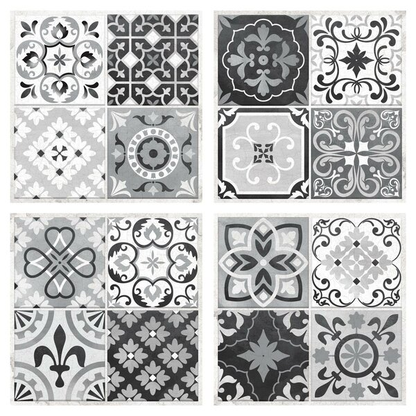 Spanish Assorted 10.5 x 10.5 PVC Peel & Stick Field Tile in Black & White (Set of 4) by Room Mates