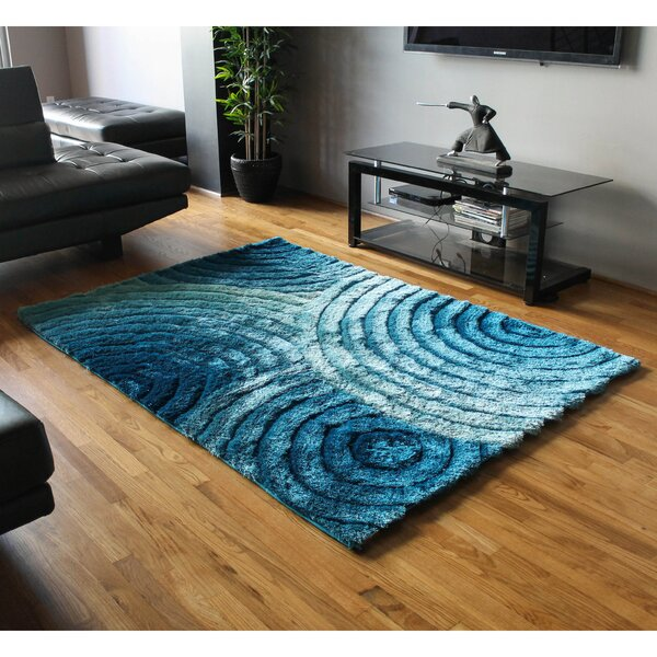 Concentric Waves Textured Gradated Shag Blue Area Rug by Blazing Needles