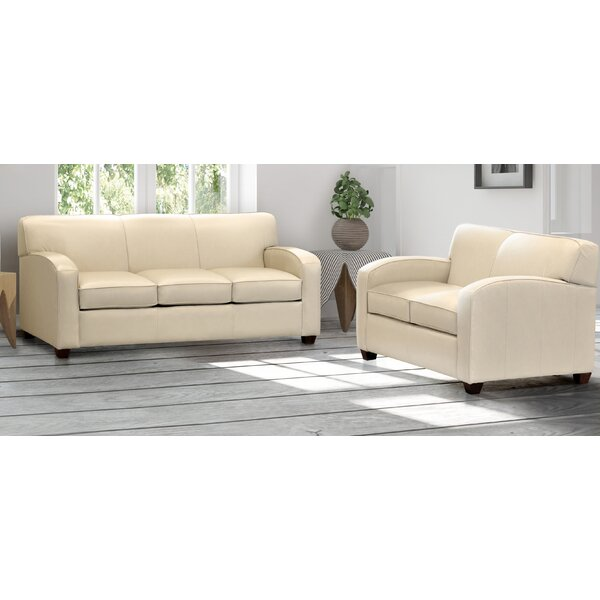 Made In Usa Rossleigh Cream Top Grain Leather Sofa Bed And Loveseat by Ebern Designs Ebern Designs
