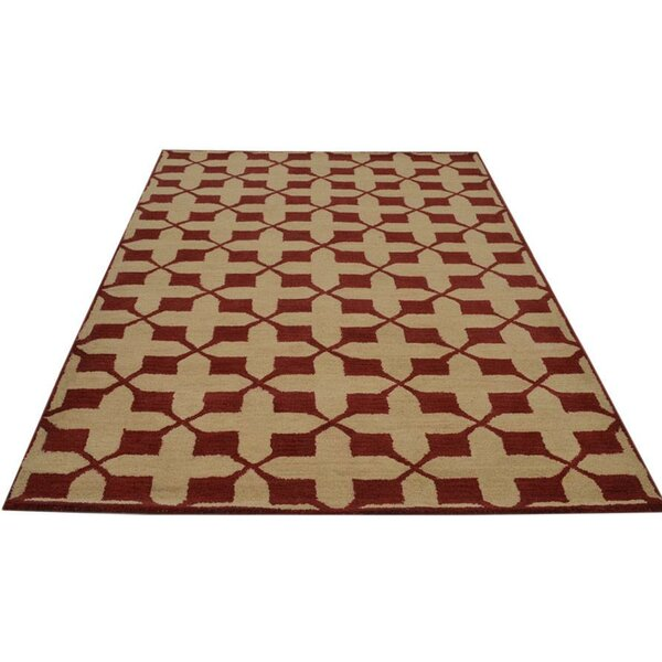 Creager Hand-Tufted Wool Beige/Red Area Rug by Ivy Bronx