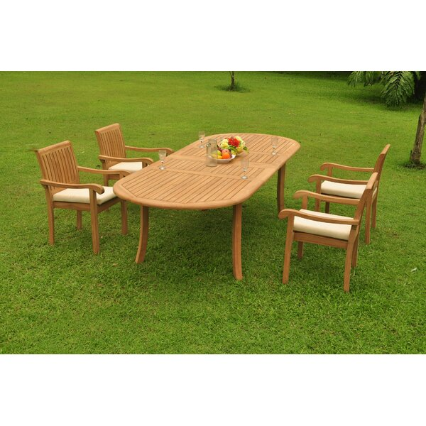 Gladys 5 Piece Teak Dining Set by Rosecliff Heights