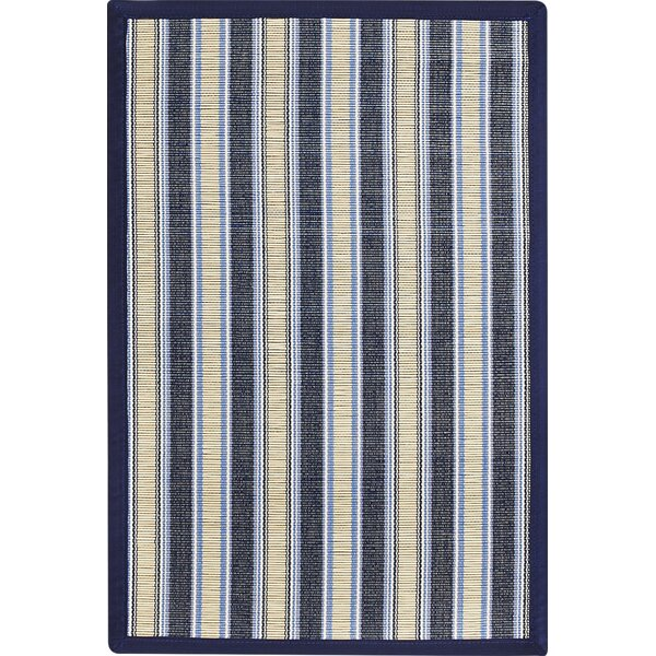 Lawrence Surf Blue Striped Area Rug by Beachcrest Home