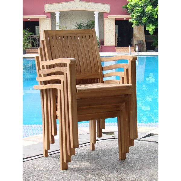 Leveb Stacking Teak Patio Dining Chair (Set of 4) by Teak Smith