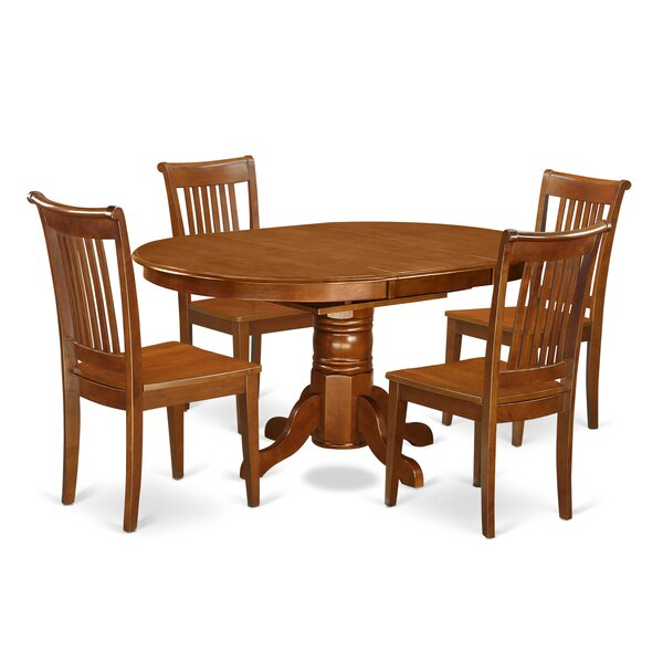 Emmaline 5 Piece Solid Wood Dining Set by Alcott Hill