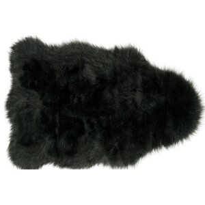 Yukon Faux Sheepskin Black Area Rug