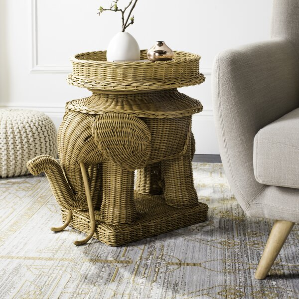 Frazier Elephant Rattan End Table by World Menagerie