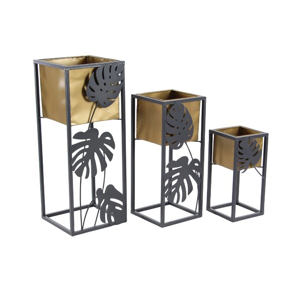 Granville Modern Tin Square 3 Piece Corner Plant Stand Set by Bay Isle Home